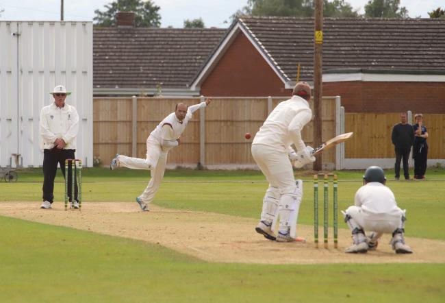 Ijaz Yousaf bowls for Whitchurch. Picture by ian Stading