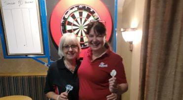 Heather Radcliffe (right), before her semi final match with Shrewsbury's Sandra Barlow which Heather won 2-1