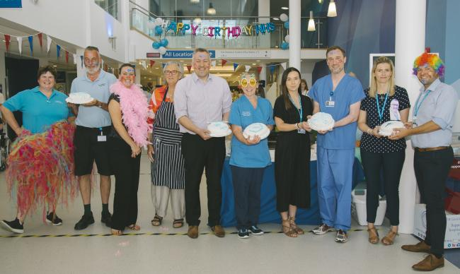 Staff at the RJAH who took part in the It's a Knockout with Great British Bake Off star Diana Beard