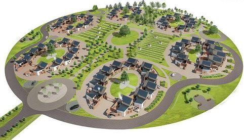Greenspace Architects design. An aerial view of the scheme.