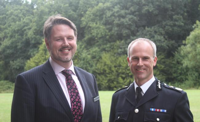 John Campion, West Mercia police and crime commissioner, with Chief Constable Anthony Bangham