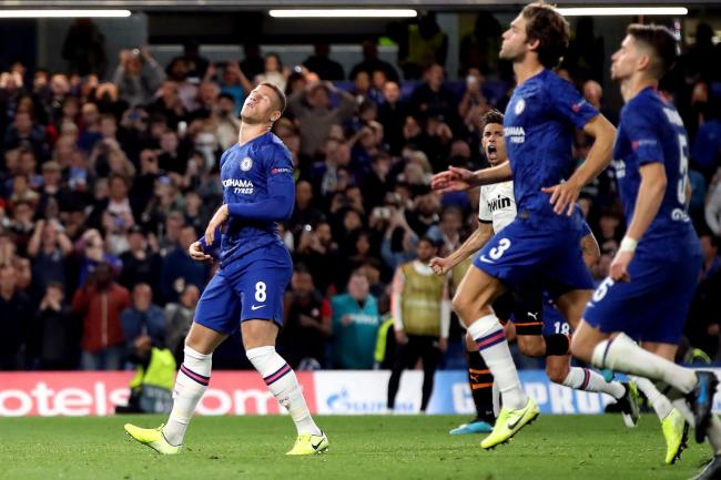 Chelsea's Ross Barkley reacts after missing from the penalty spot