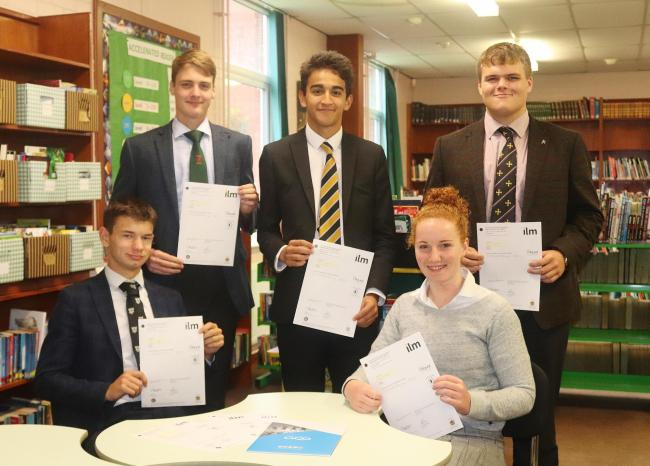 Successful Ellesmere College students Louis Deekes, Alex Selby, Sam Zakers, Rosie Holland and Will Davies (Head Boy)
