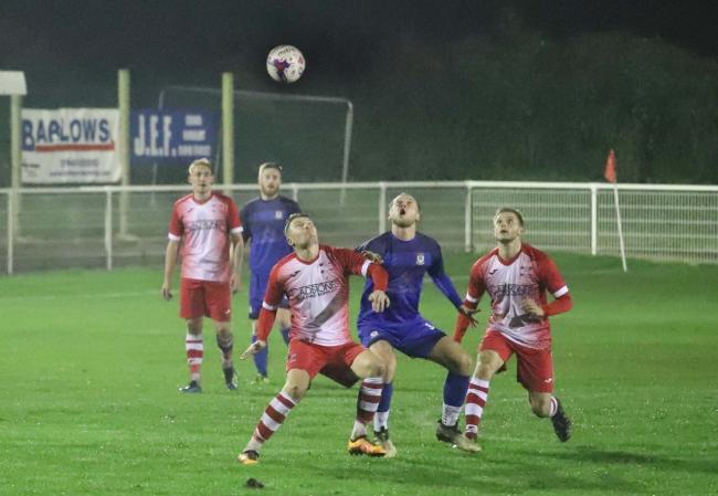Alport scorer Dan Skelton competes for the ball. Picture by Ian Stading