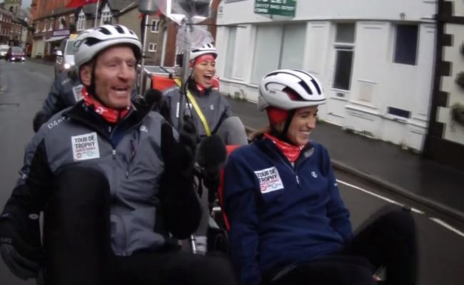 Gareth Thomas and the Sport Relief team cycle through Wem