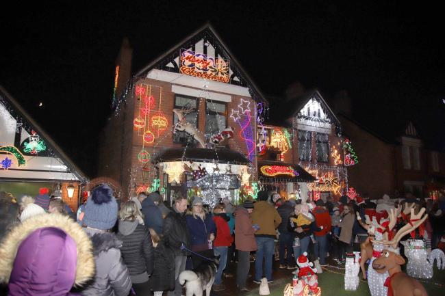 Annual Christmas lights display at the home of Sheila Chase,  Whitchurch, raising money for the county Air Ambulance. Seen is Father Christmas arriving by reindeer