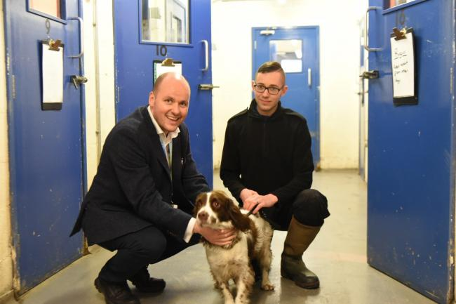 David Keane (left) with police dog Rufus