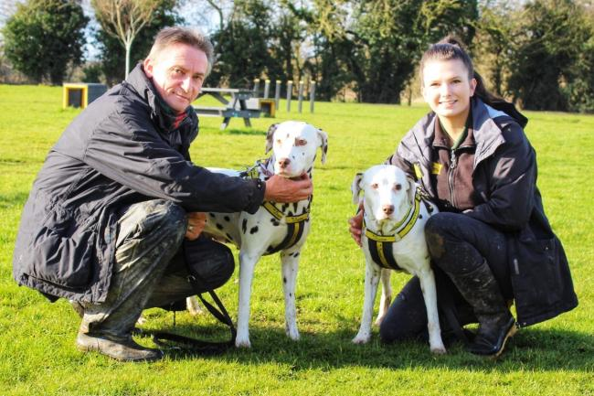 Mum Kayla and daughter Jessie are pictured with Canine Carers Steve Chapman and Elizabeth Terry