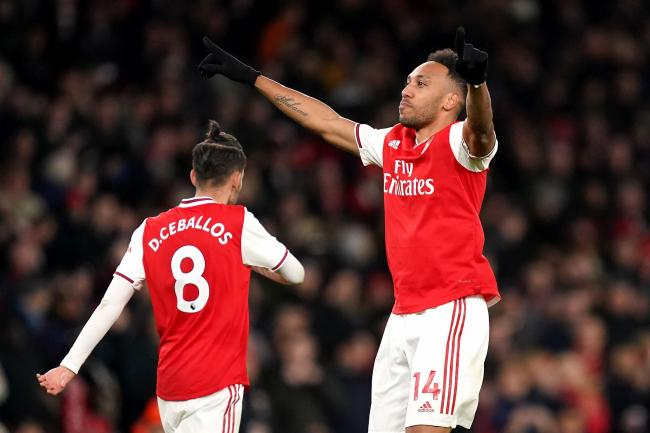 Arsenal's Pierre-Emerick Aubameyang celebrates scoring