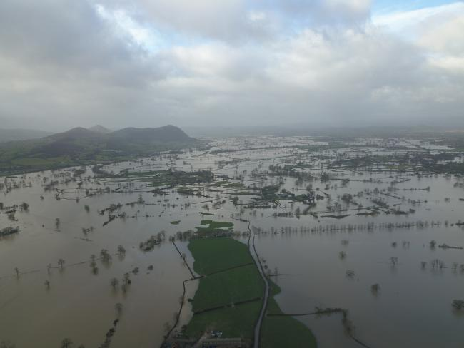 An aerial view of the floods in Shropshire. Picture by Hire a Canoe