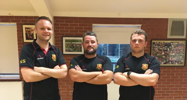 New head coach Noel Speed (left) alongside departed coach Scott Sturdy (centre) and Colts coach Max Pridmore (left)