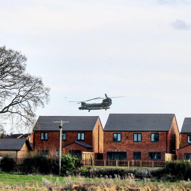 The RAF Chinook, spotted over Penley. Picture by Francesca Smith