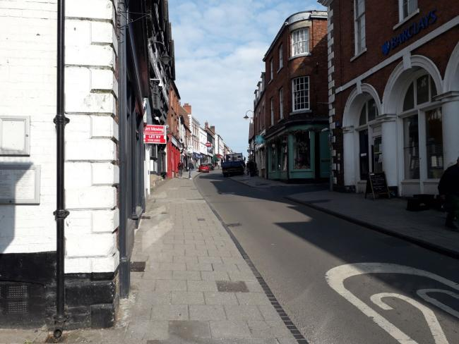 A deserted High Street in Whitchurch