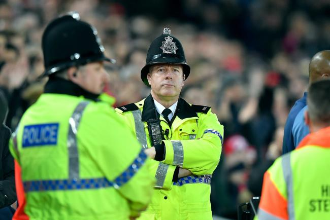 Police officers at Anfield