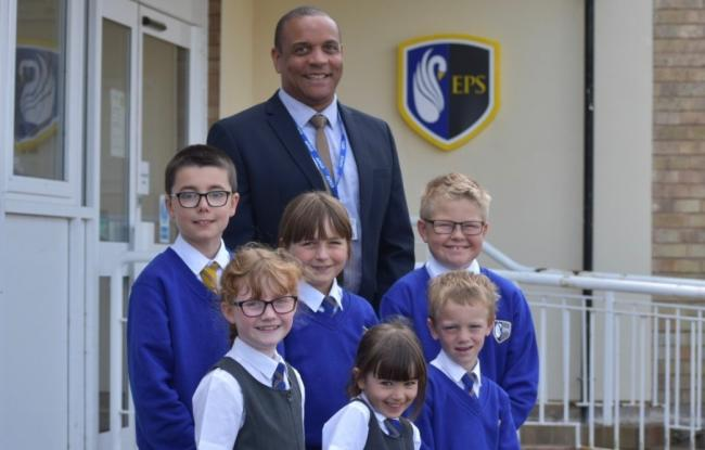 Ellesmere Primary head Stuart Roberts with pupils