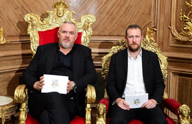 "File photo dated 13/09/17 of Taskmaster host Greg Davies left and creator Alex Horne (right), who has said he has ""a lot of respect"" for the TV channel Dave for taking a risk on the comedy show. PA Photo. Issue date: Monday October 12, 2020. The"