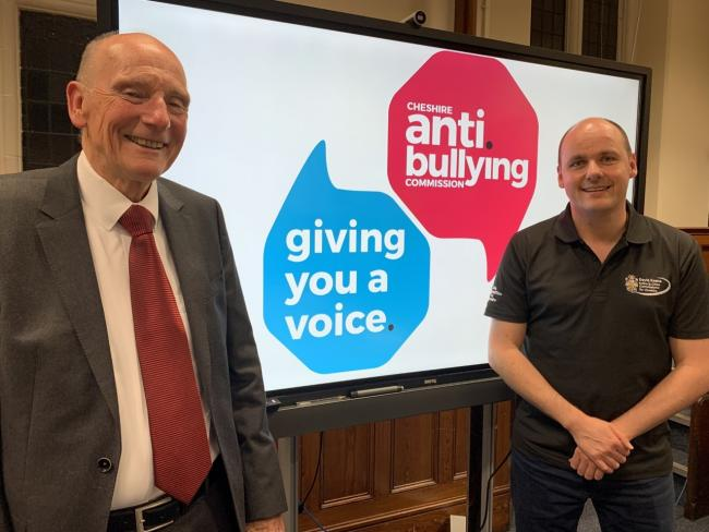 PCC David Keane with Alan Yates, chair of the Cheshire Anti-Bullying Commission