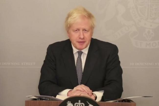 Boris Johnson making the latest coronavirus announcement remotely as he isolates at Number 10