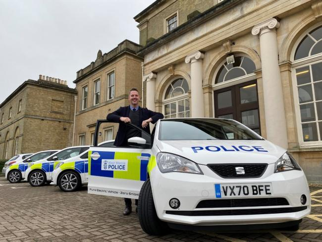 PCC John Campion with the new electric vehicles.