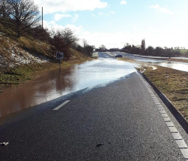 The flooding on the A41. Picture by Market Drayton Police