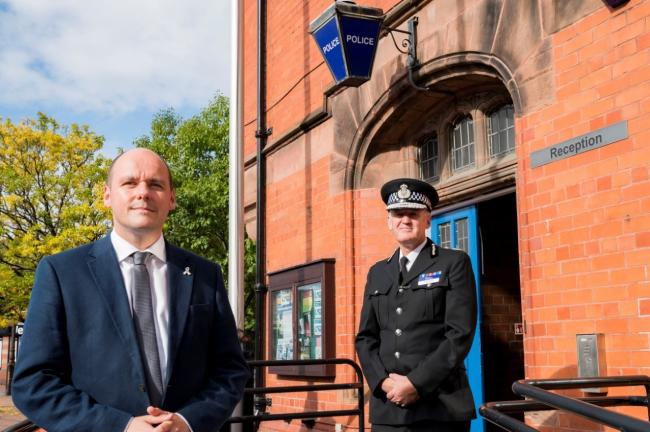 Cheshire PCC David Keane and chief constable Darren Martland.