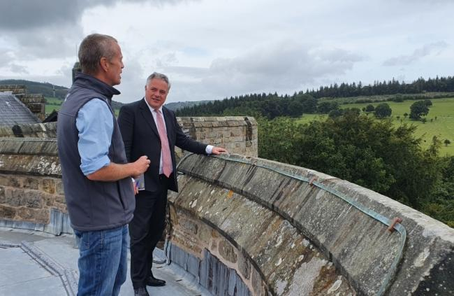 Simon Baynes MP during a visit to Chirk Castle
