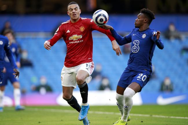 Chelsea's Callum Hudson-Odoi, right, was not penalised for handball in his side's match against Manchester United last Sunday