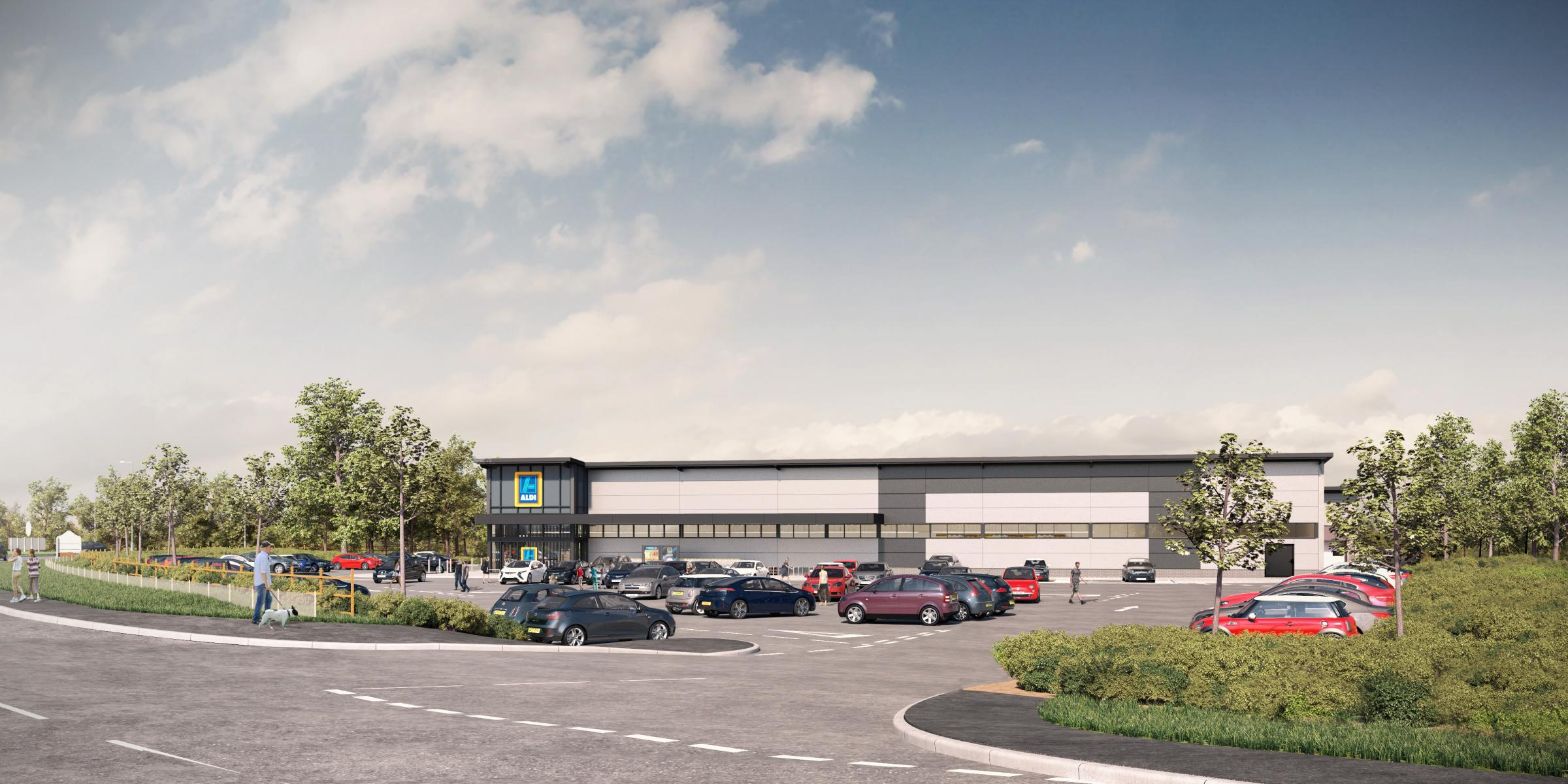 The artist impression of a proposed Aldi store in Wrexham Road