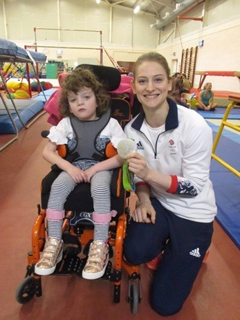 Olympian Bethany Page with a service user at the Wingate Centre