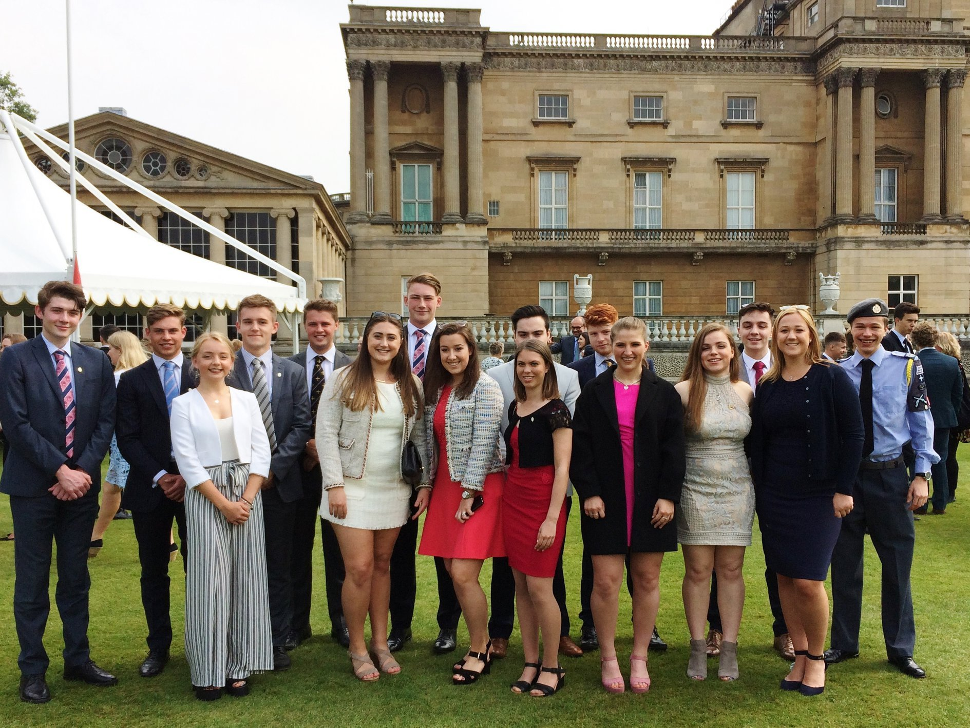 Past and present students of Ellesmere College at Buckingham Palace receiving their Gold DofE awards
