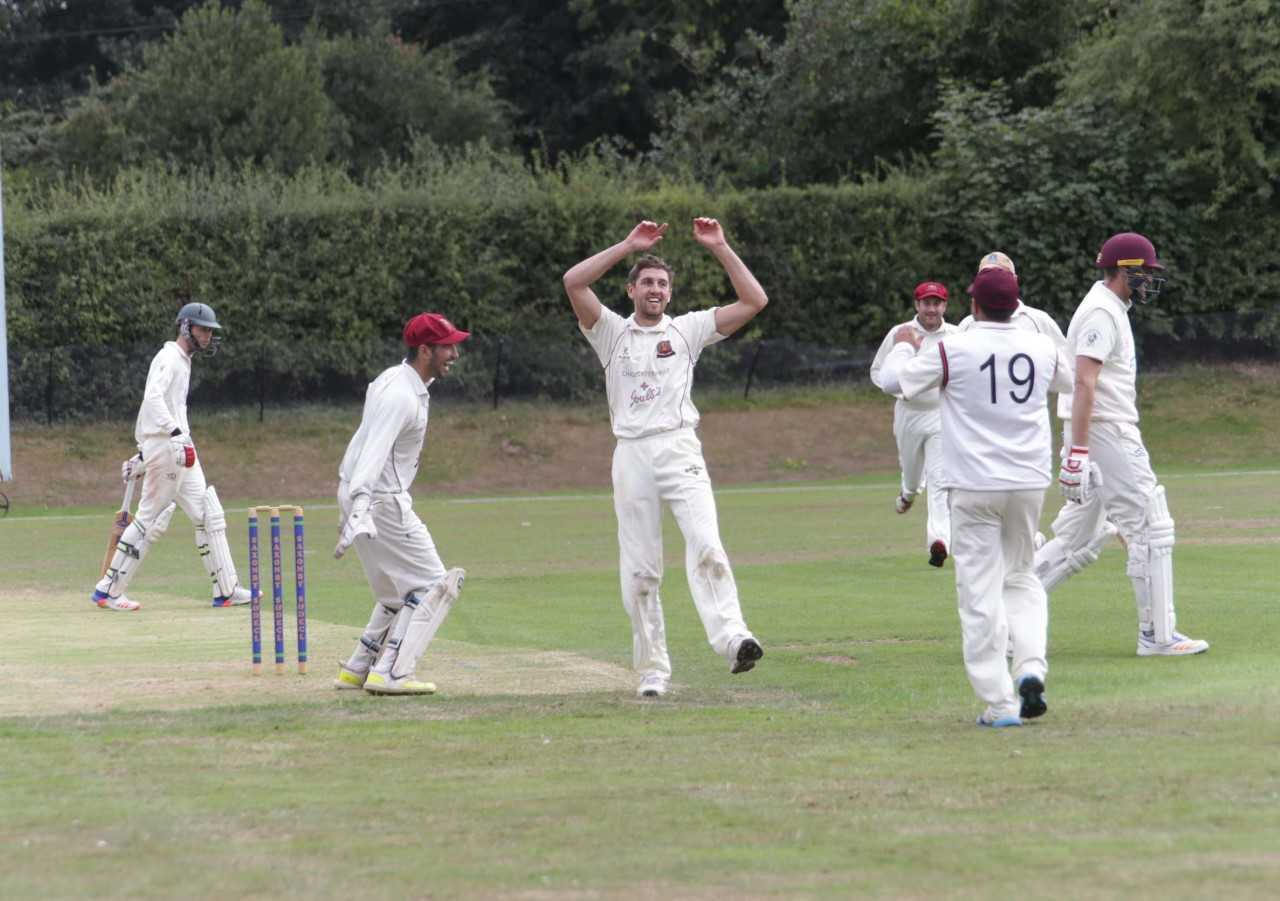 Whitchurch bowler Dan Bowen celebrates taking a wicket on Saturday (Ian Stading)