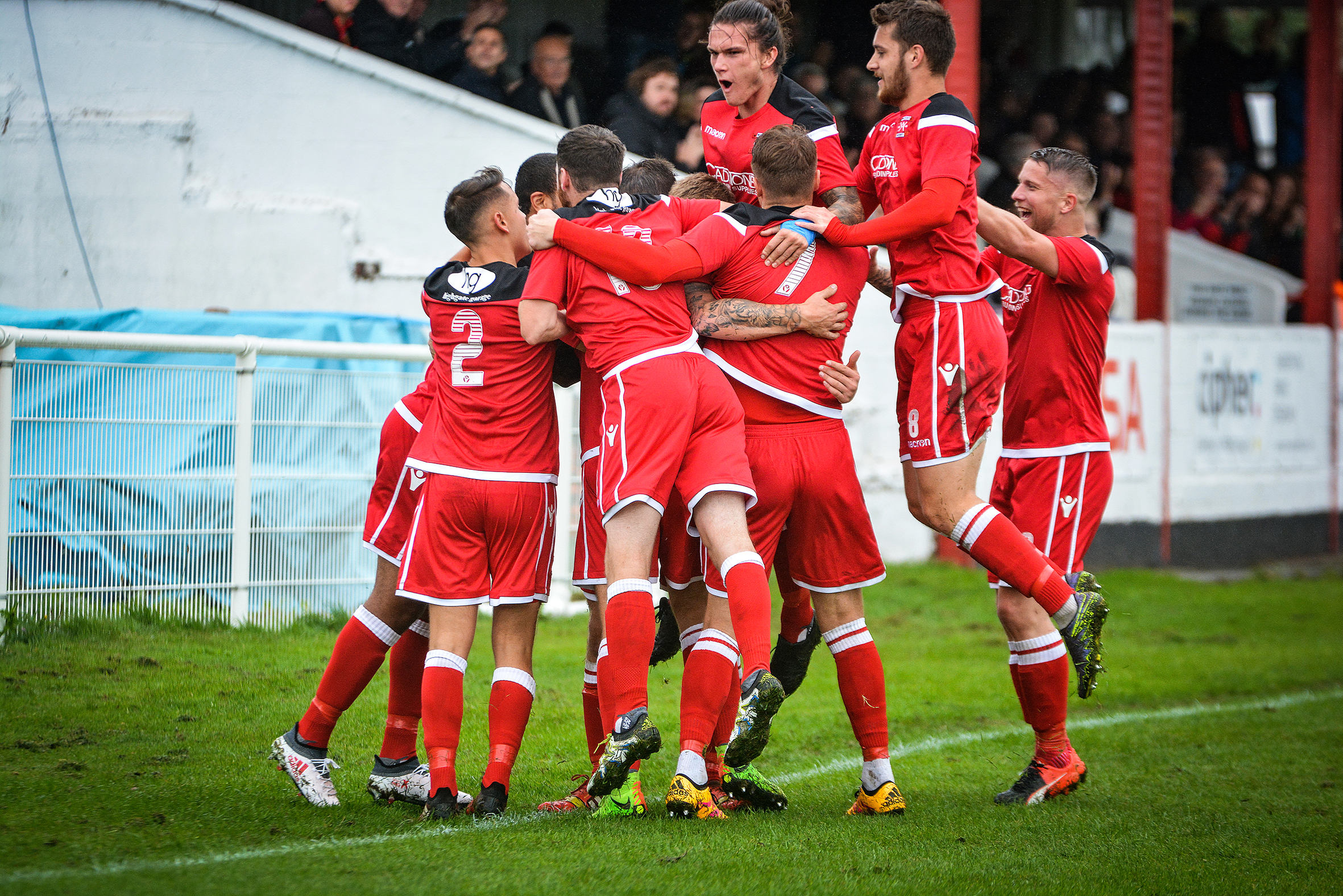 The Alport players celebrate another goal at Yockings Park PICTURE BY JOSH PEARCE