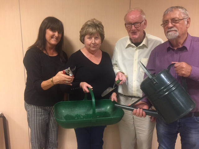 Members of the Ellesmere in Bloom team: Anne Wignall, Gillian Frost, Rob Tinsley & John Frost