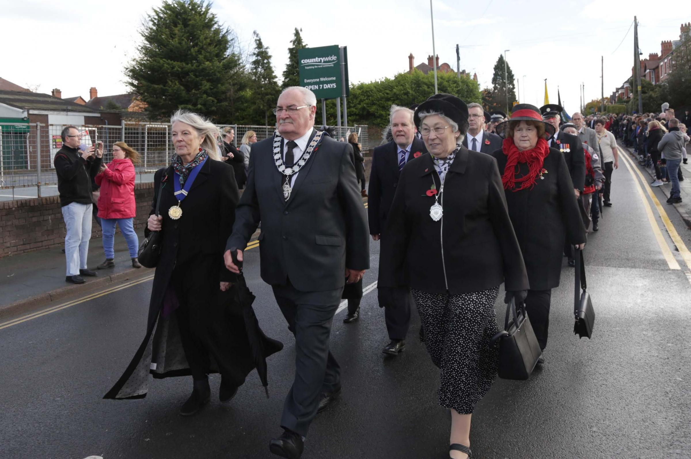 Whitchurch town mayor Tony Neville leads fellow town councillors in the parade on Armistice Day