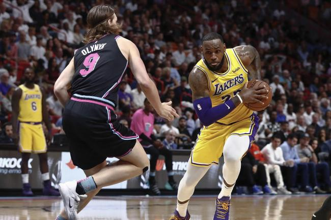 9d0b3a3bdfeb6 LeBron James scores 51 points to lead Los Angeles Lakers past Miami Heat.  By Press Association 2019. Lakers Heat Basketball