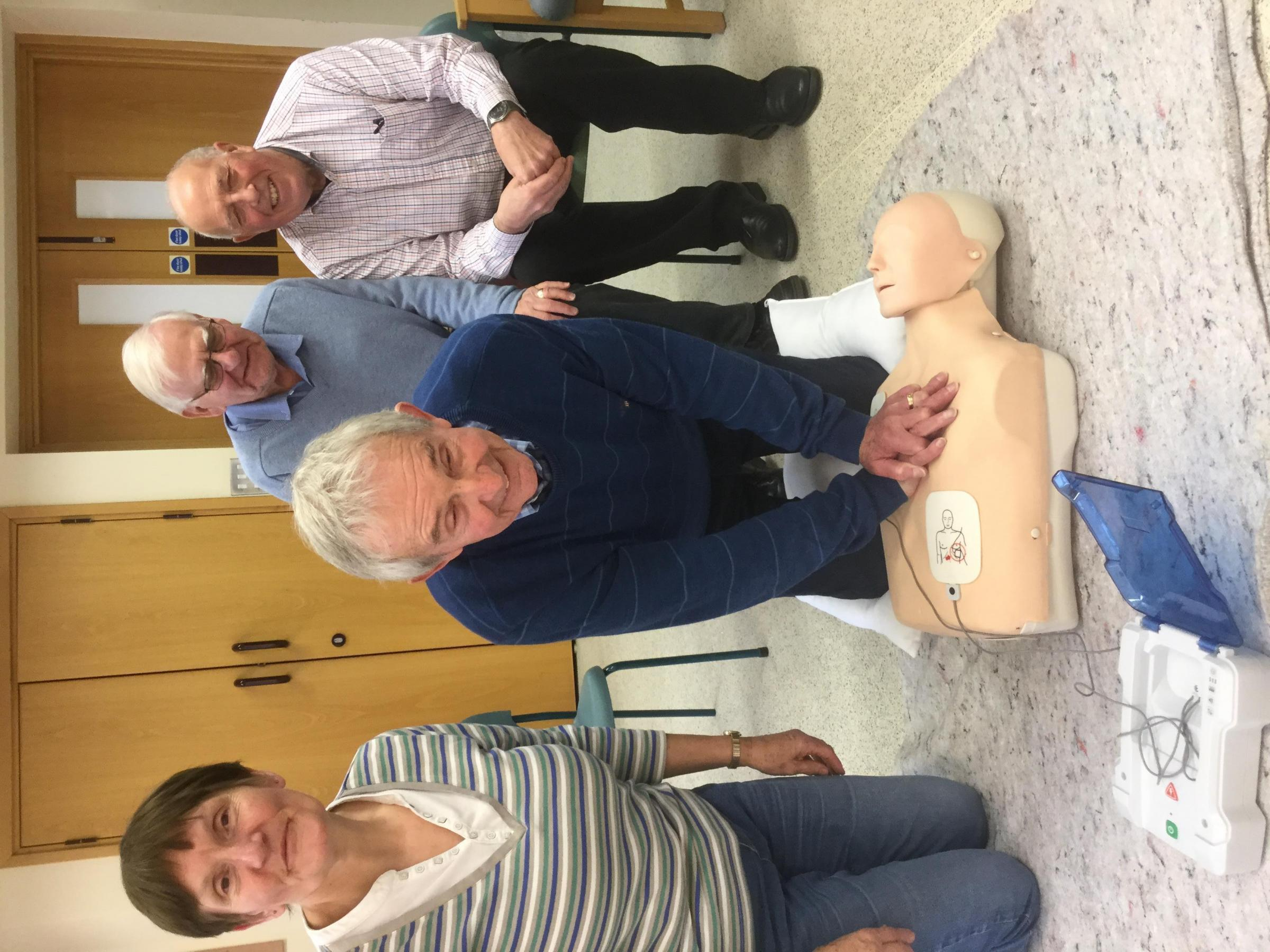 Don Pierce takes part in the Heartstart training with Tony Birch and Mike Valentine with Julie Rich from Heartstart