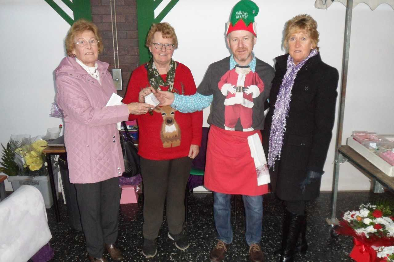 Joyce Chester and Rosemary Powell with traders Isabel Williams and Chris Docking