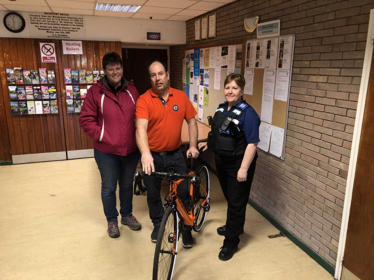 Jo Evans, Rob Williams and PCSO Tracey Walker at Ellesmere Town Hall