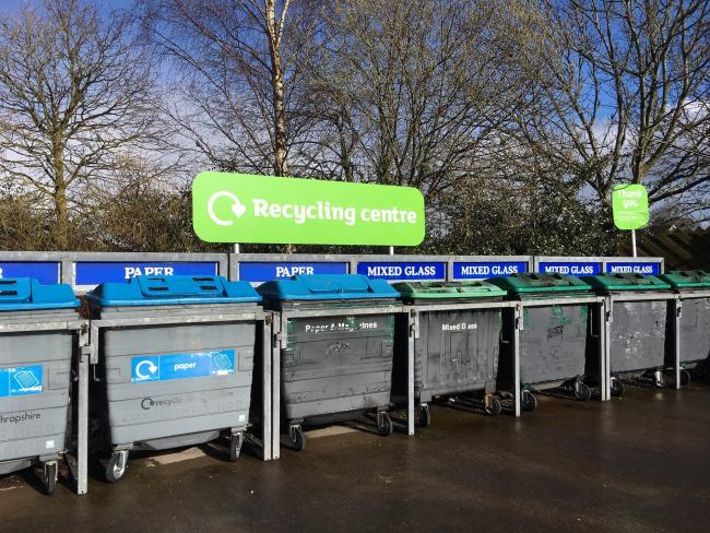 Recycling bank at Sainsbury's, Oswestry
