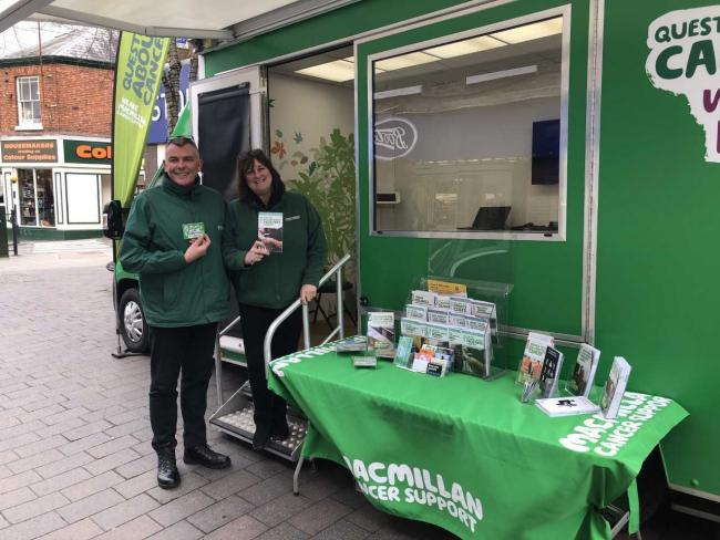 Simon Gould and Hilary Gwilt with their pop up stall in Whitchurch