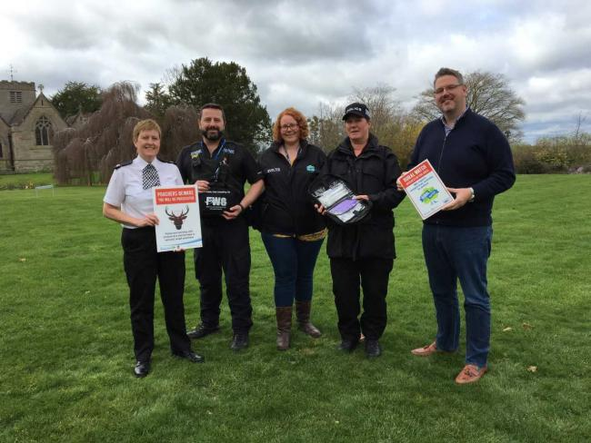 Superintendent Sue Thomas, Rural and Business Officer Natalie Lowe (centre) and PCC John Campion with two of the newly trained Wildlife Crime Officers