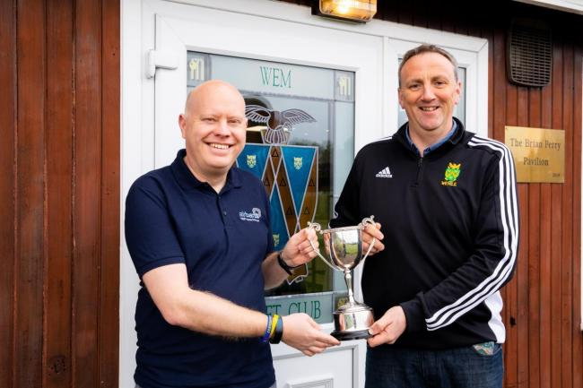 Airband's Kev Dendy with Shaun Astley, manager of WEM Cricket Club. Airband has sponsored WEM Cricket Club's three senior men's teams for the next three years