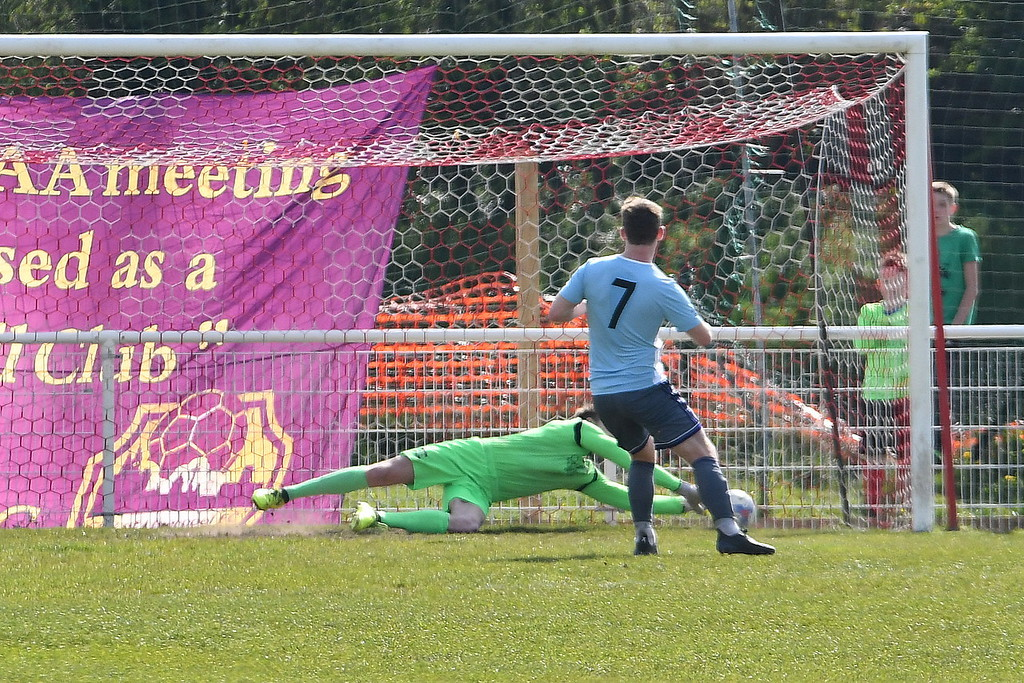 Dave Parton saves an early penalty. Picture by Josh Pearce