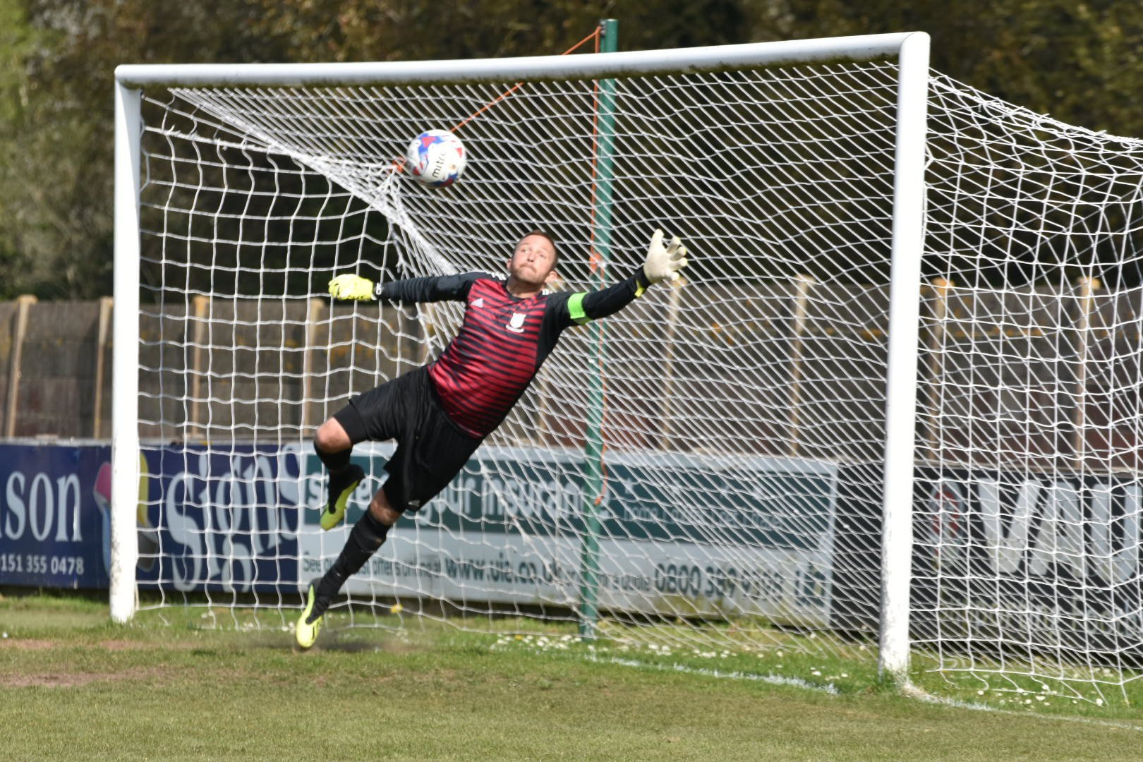 Rich Cowderoy shows his cat-like ability for Ellesmere Rangers