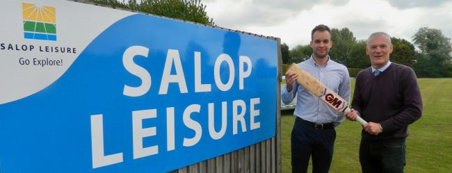 Salop Leisure's marketing manager Ed Glover and Wem Cricket Club's treasurer Chris Mellings